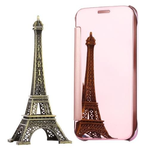 For Galaxy S7 Rose Gold Electroplating Mirror Horizontal Flip Leather Case