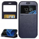 For Galaxy S7 Black Leather Case with Call Display ID, Holder & Card Slots