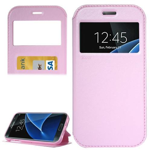 For Galaxy S7 Pink Leather Case with Call Display ID, Holder & Card Slots