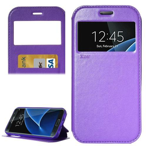 For Galaxy S7 Purple Leather Case with Call Display ID, Holder & Card Slots