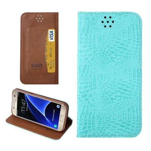 For Galaxy S7 Baby Blue Magnetic Crocodile Texture Flip Leather Case