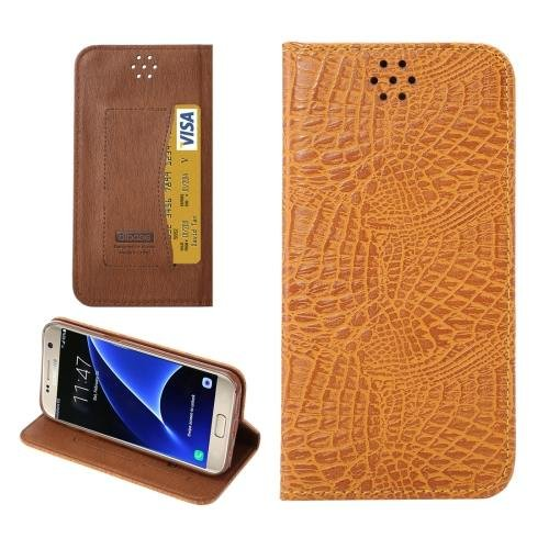 For Galaxy S7 Brown Magnetic Crocodile Texture Flip Leather Case