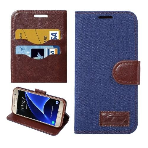 For Galaxy S7 Dark Blue Jeans Leather Case with Holder & Card Slots