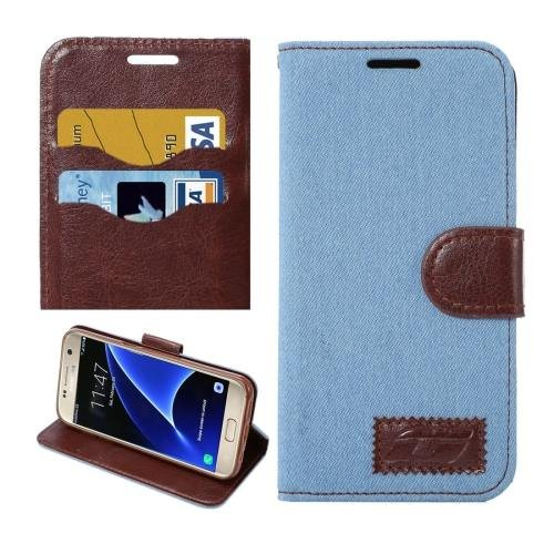 For Galaxy S7 Baby Blue Jeans Leather Case with Holder & Card Slots