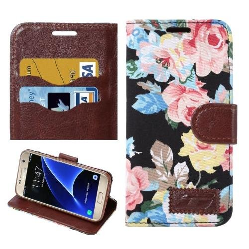For Galaxy S7 Black Cloth Leather Case with Holder & Card Slots