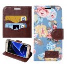 For Galaxy S7 Blue Cloth Leather Case with Holder & Card Slots