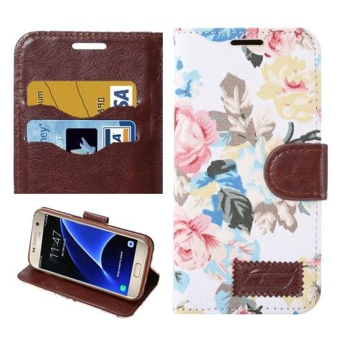 For Galaxy S7 White Cloth Leather Case with Holder & Card Slots