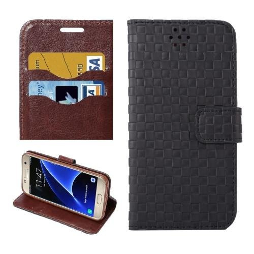 For Galaxy S7 Black Grid Voltage Leather Case with Holder & Card Slots
