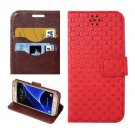 For Galaxy S7 Red Grid Voltage Leather Case with Holder & Card Slots
