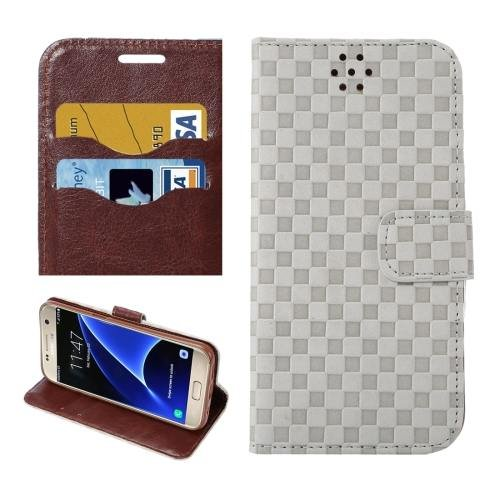 For Galaxy S7 White Grid Voltage Leather Case with Holder & Card Slots