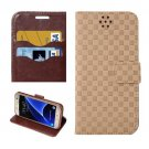 For Galaxy S7 Brown Grid Voltage Leather Case with Holder & Card Slots