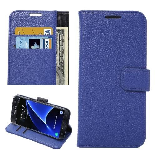 For Galaxy S7 Blue Litchi Leather Case with Holder, Wallet & Card Slots