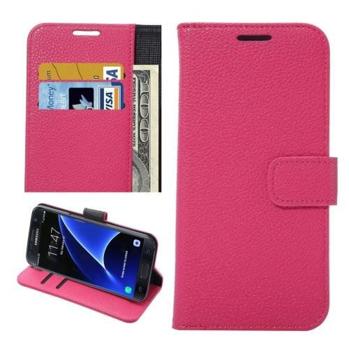 For Galaxy S7 Magenta Litchi Leather Case with Holder, Wallet & Card Slots