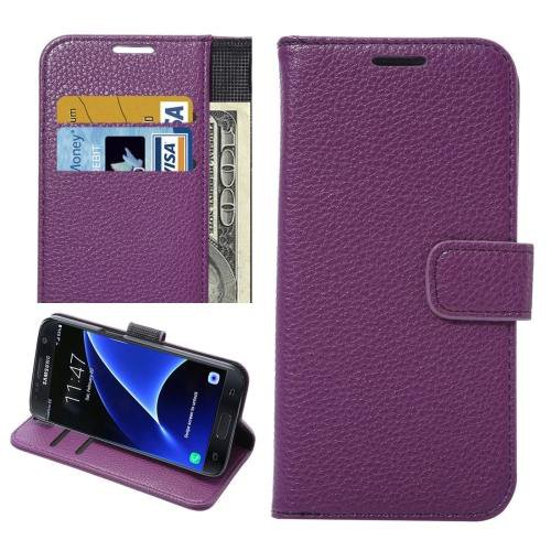 For Galaxy S7 Purple Litchi Leather Case with Holder, Wallet & Card Slots