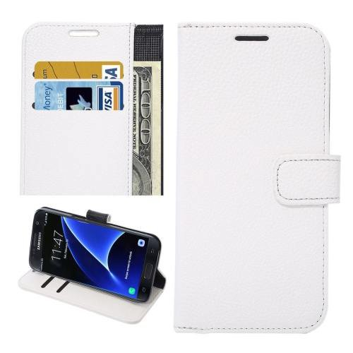 For Galaxy S7 White Litchi Leather Case with Holder, Wallet & Card Slots