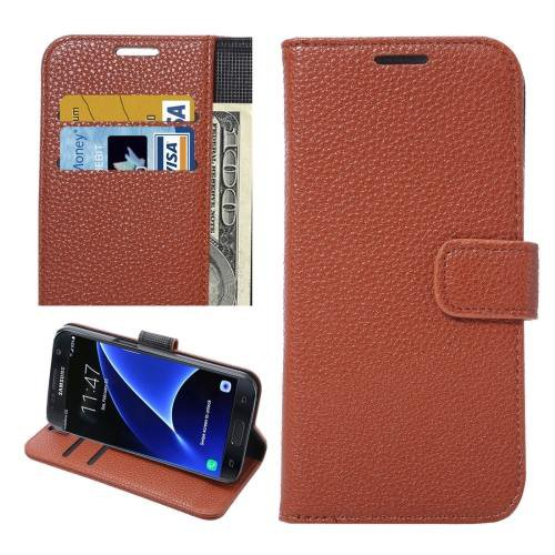 For Galaxy S7 Brown Litchi Leather Case with Holder, Wallet & Card Slots