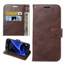 For Galaxy S7 Coffee Crazy Horse Leather Case with Holder, Wallet & Card Slots