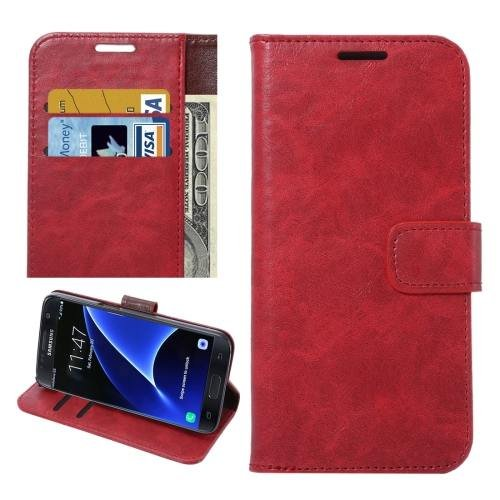 For Galaxy S7 Red Crazy Horse Leather Case with Holder, Wallet & Card Slots