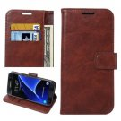 For Galaxy S7 Brown Crazy Horse Leather Case with Holder, Wallet & Card Slots