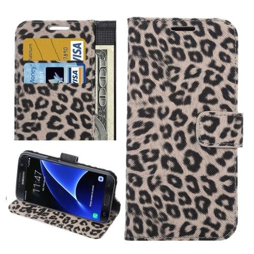For Galaxy S7 Brown Leopard Leather Case with Holder, Wallet & Card Slots