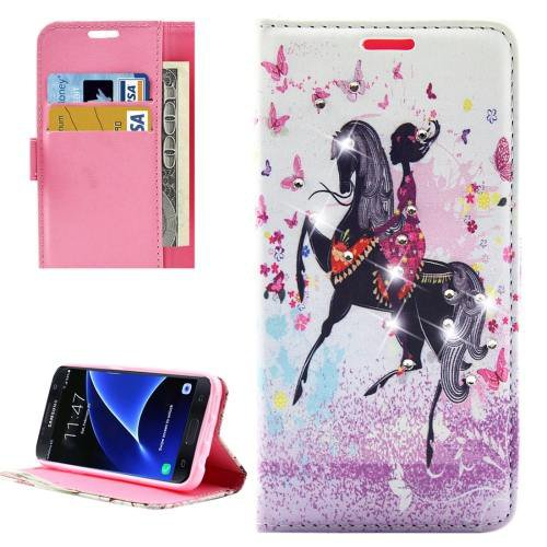 For Galaxy S7 Lady Diamond Leather Case with Holder, Wallet & Card Slots
