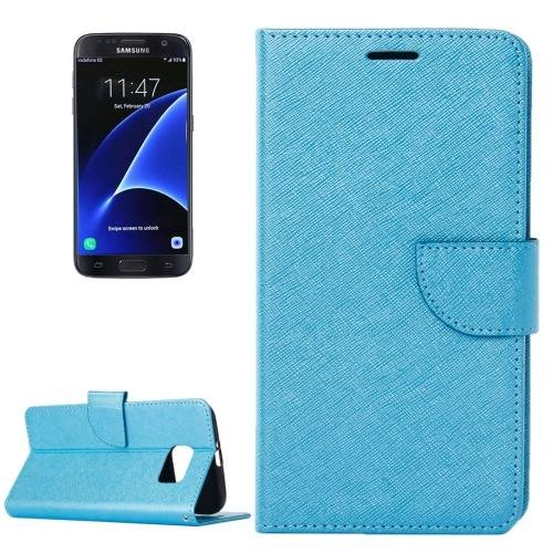 For Galaxy S7 Blue Cross Leather Case with Holder, Wallet & Card Slots