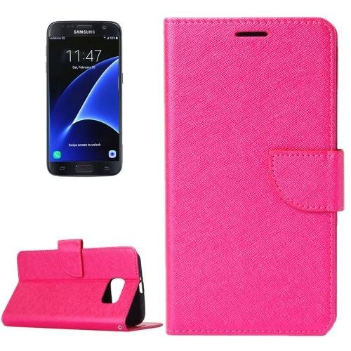For Galaxy S7 Magenta Cross Leather Case with Holder, Wallet & Card Slots