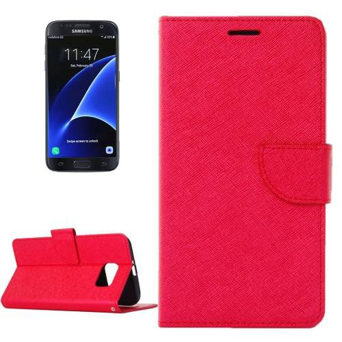 For Galaxy S7 Red Cross Leather Case with Holder, Wallet & Card Slots