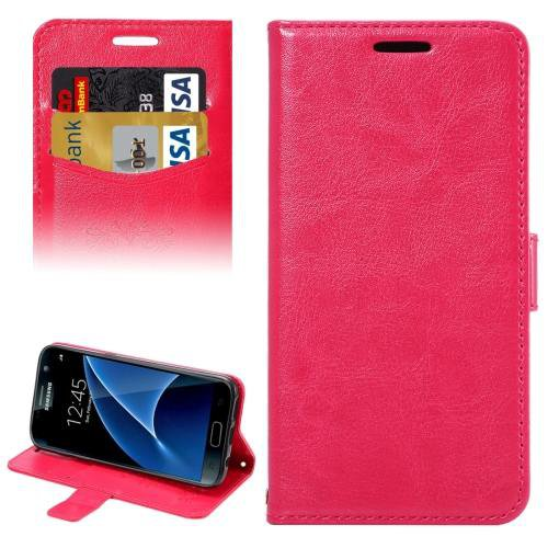 For Galaxy S7 Magenta Lambskin Leather Case with Card Slots & Lanyard