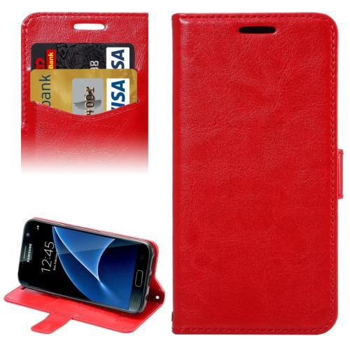 For Galaxy S7 Red Lambskin Leather Case with Card Slots & Lanyard