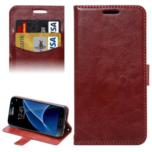For Galaxy S7 Brown Lambskin Leather Case with Card Slots & Lanyard