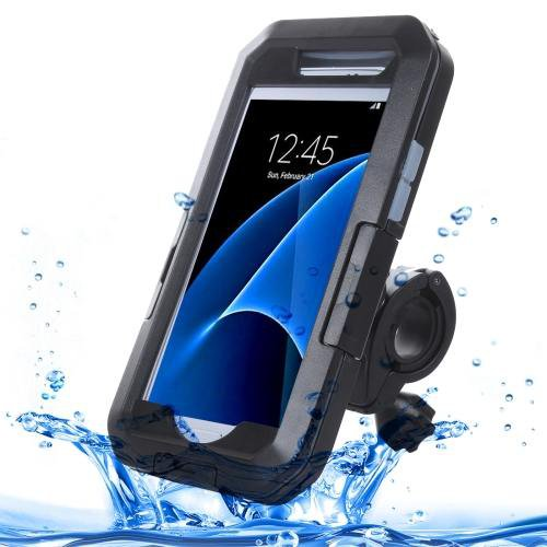 For Galaxy S7 IPX8 Plastic + Silicone Waterproof Protective Case with Bike Holder