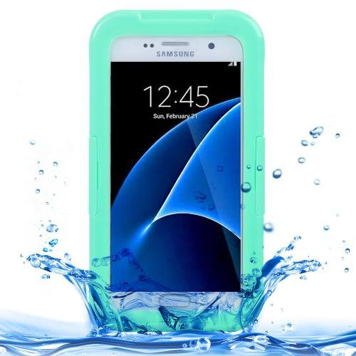 For Galaxy S7 IPX8 Green Transparent Waterproof Protective Case with Lanyard
