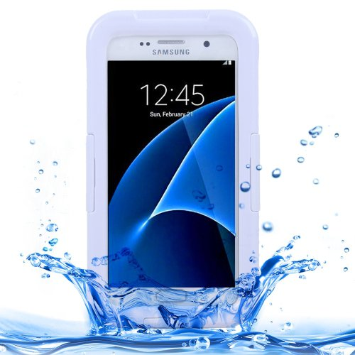 For Galaxy S7 IPX8 White Transparent Waterproof Protective Case with Lanyard