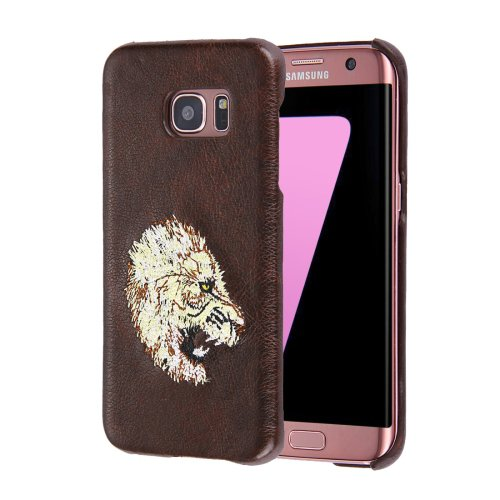 For Galaxy S7 Oil skin Embroidery Lion Pattern PU Paste Skin PC Case