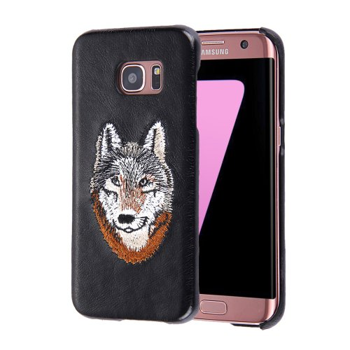For Galaxy S7 Oil skin Embroidery Wolf Pattern PU Paste Skin PC Case