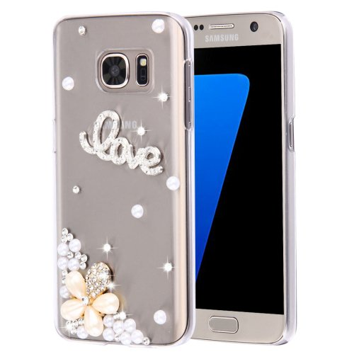 For Galaxy S7 Diamond Encrusted Pearl Love Pattern Plastic Case