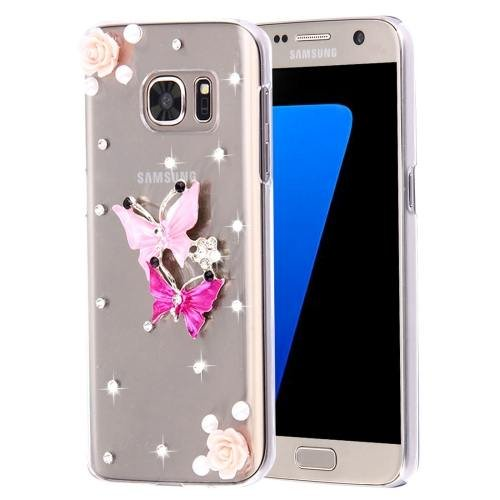 For Galaxy S7 Diamond Encrusted Pearl Butterflies Pattern Plastic Case