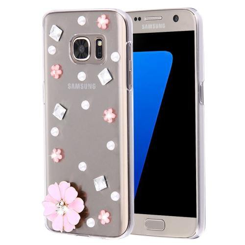 For Galaxy S7 Diamond Encrusted Pearl Flower Pattern Plastic Case