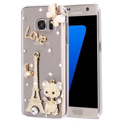 For Galaxy S7 Diamond Encrusted Pearl Eiffel Pattern Plastic Case
