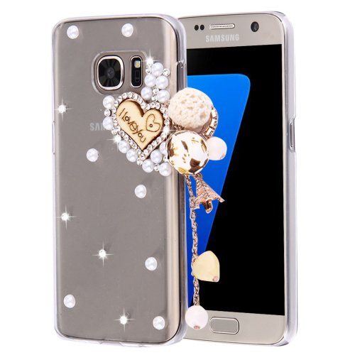 For Galaxy S7 Diamond Encrusted Pearl Heart Pattern Plastic Case