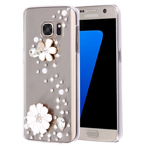 For Galaxy S7 Diamond Encrusted Pearl Flowers Pattern Plastic Case