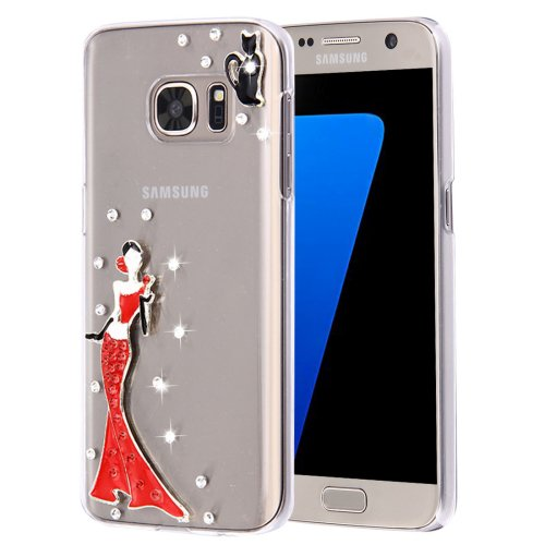 For Galaxy S7 Diamond Encrusted Pearl Lady Pattern Plastic Case
