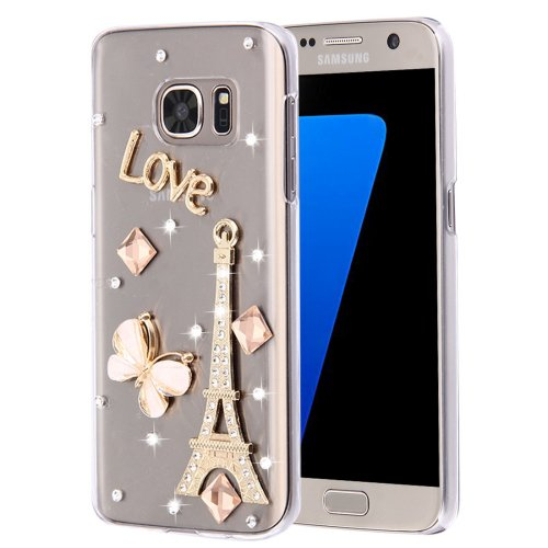 For Galaxy S7 Diamond Encrusted Pearl Tower Pattern Plastic Case