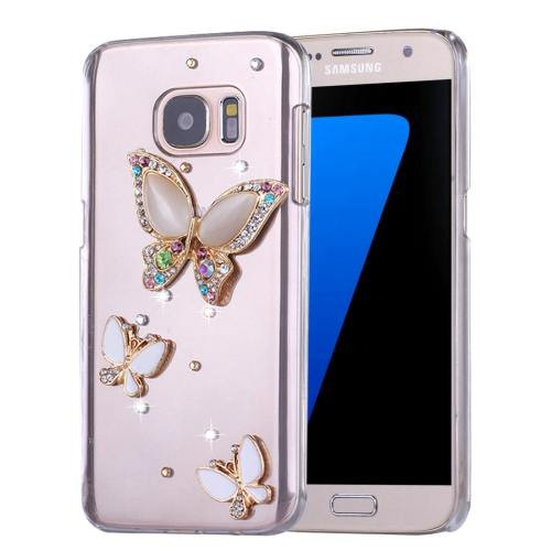 For Galaxy S7 Diamond Encrusted Butterflies Pattern PC Case Back Cover