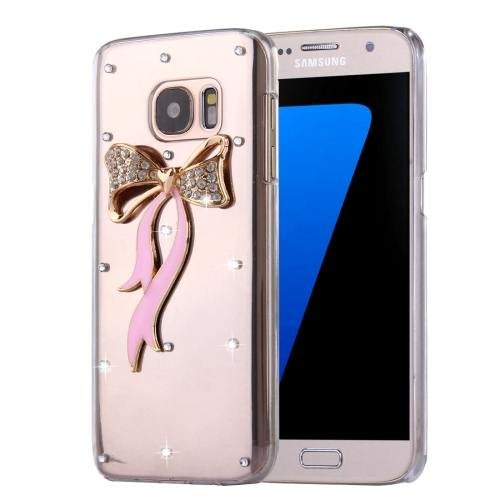 For Galaxy S7 Diamond Encrusted Bowknot Pattern PC Case Back Cover