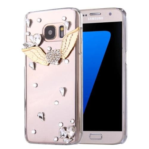 For Galaxy S7 Diamond Encrusted Wings Pattern PC Case Back Cover