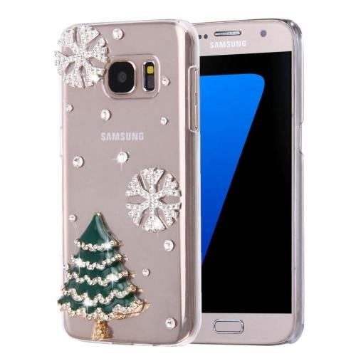 For Galaxy S7 Diamond Encrusted Christmas Pattern PC Case Back Cover