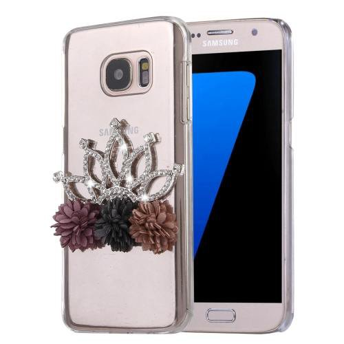 For Galaxy S7 Diamond Encrusted Crown Pattern PC Case Back Cover