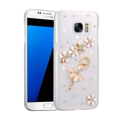 For Galaxy S7 Fevelove Diamond Incrusted Girl Pattern PC Case Back Cover